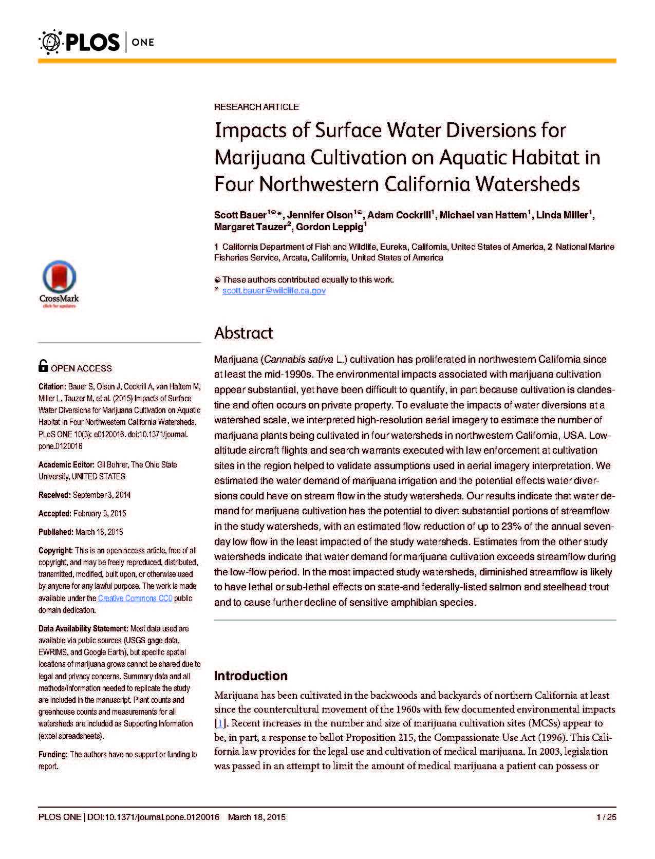 Impacts of Surface Water Diversions for Marijuana