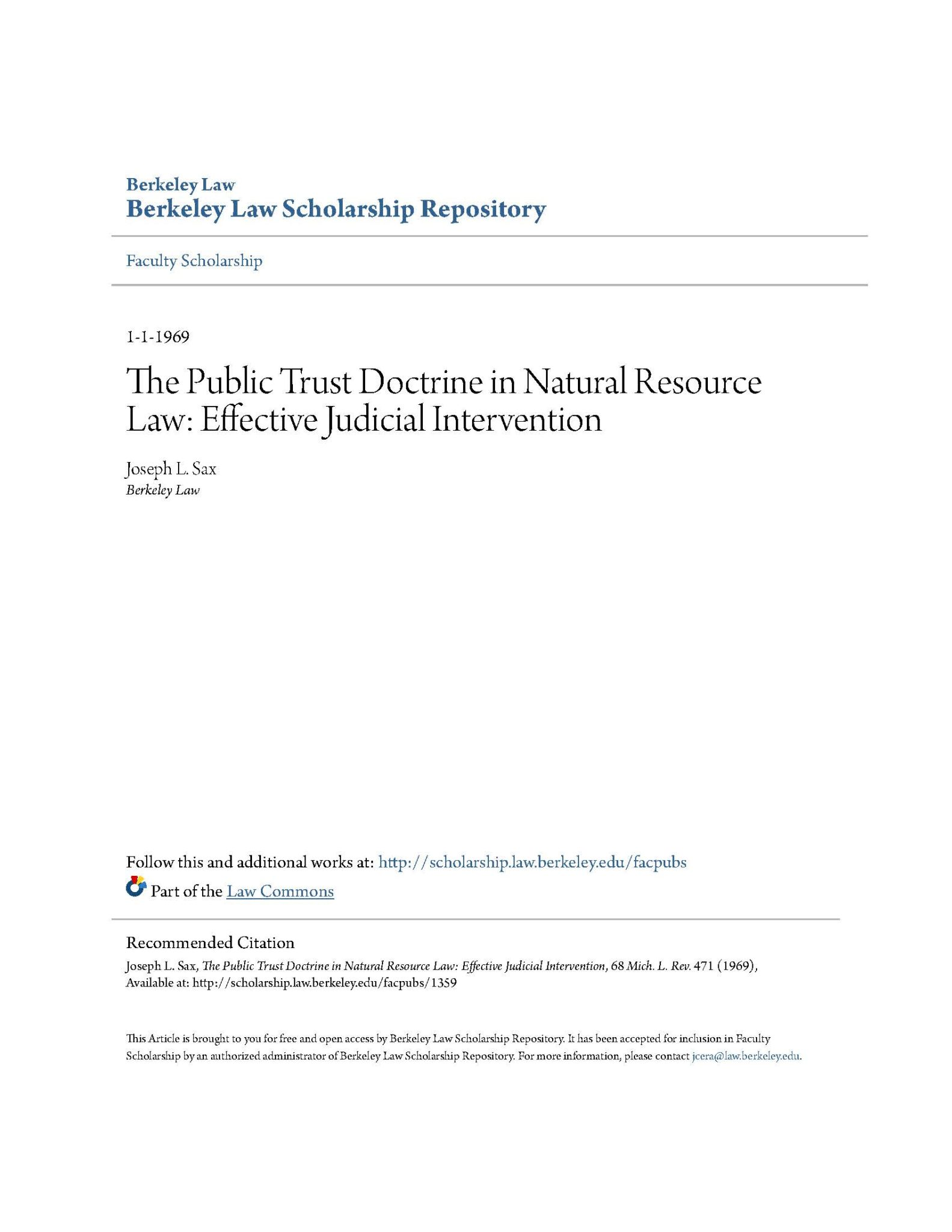 The Public Trust Doctrine in Natural Resource Law: Effective