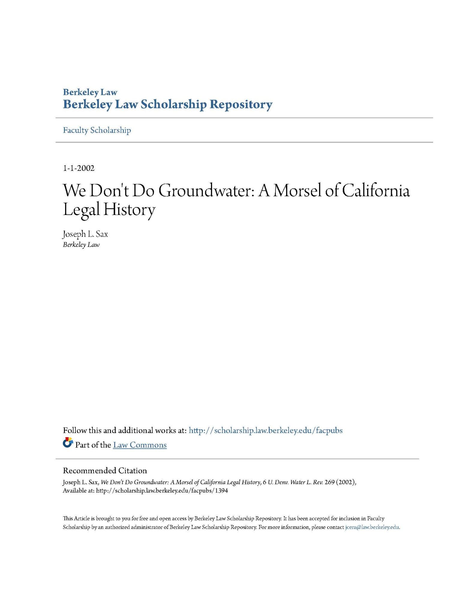 We Don t Do Groundwater  A Morsel of California Legal History ... 30fb3774d