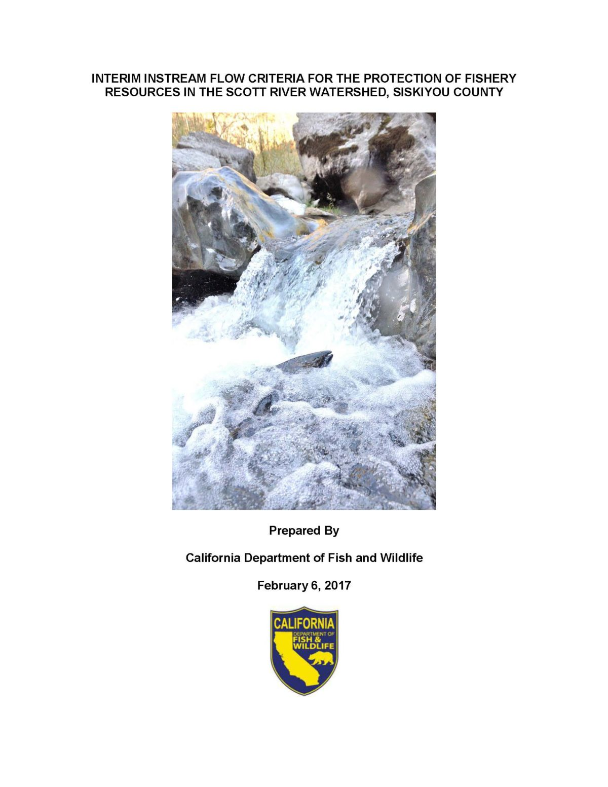 Interim instream flow criteria for the protection of fishery resources in the Scott River watershed, Siskiyou County