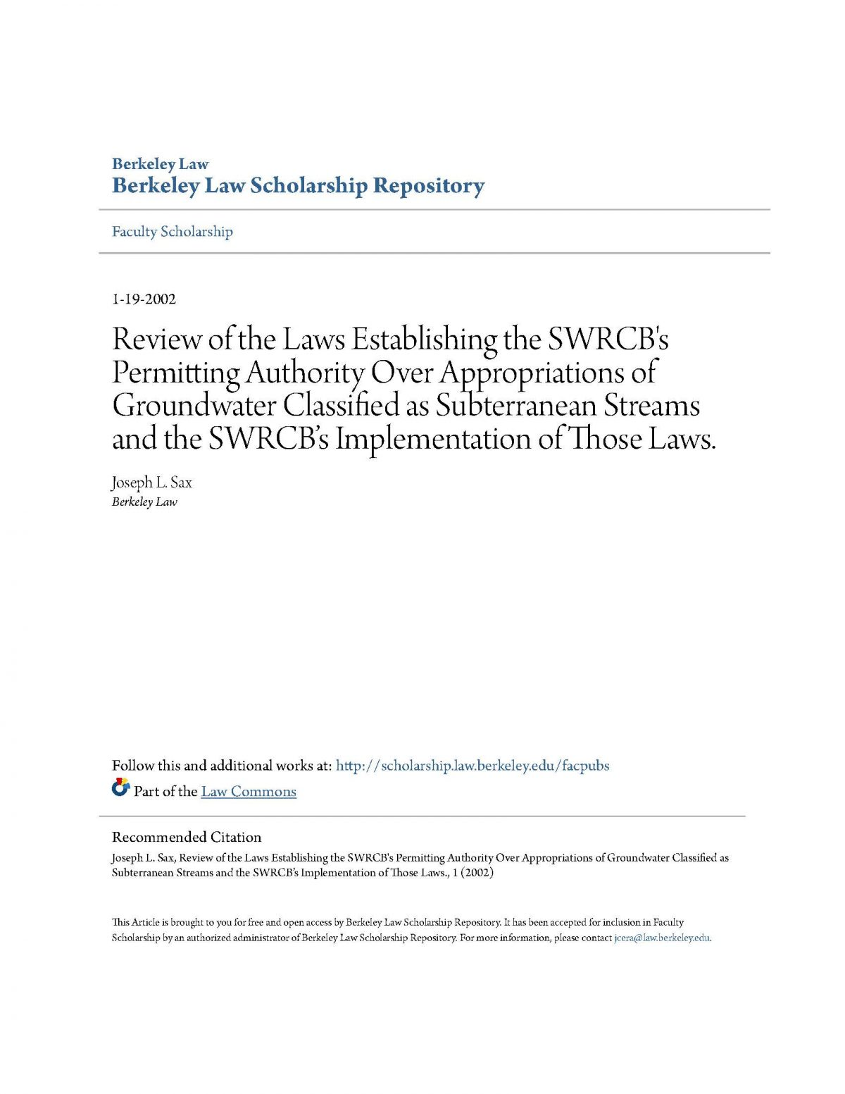 Review of the Laws Establishing the SWRCB's Permitting Authority over Appropriations of Groundwater Classified as Subterranean Streams and the SWRCB's Implementation of those Laws