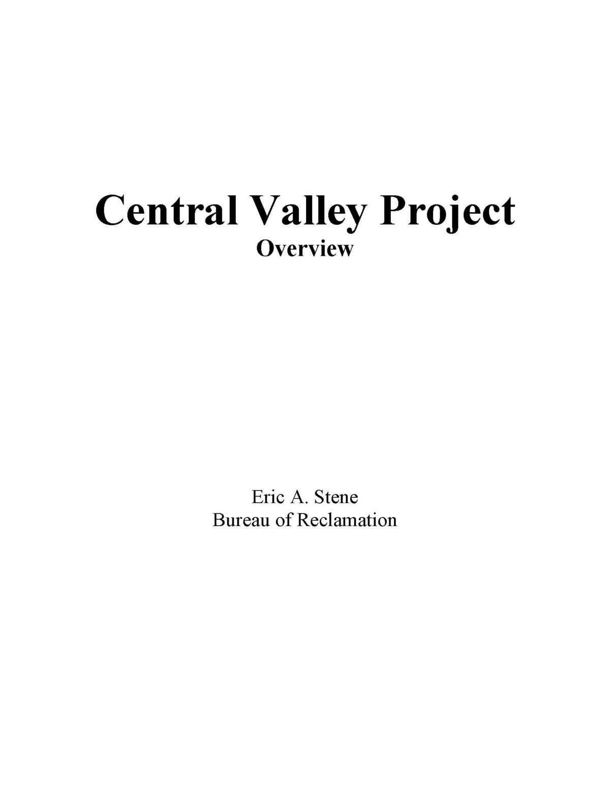 History of the Central Valley Project