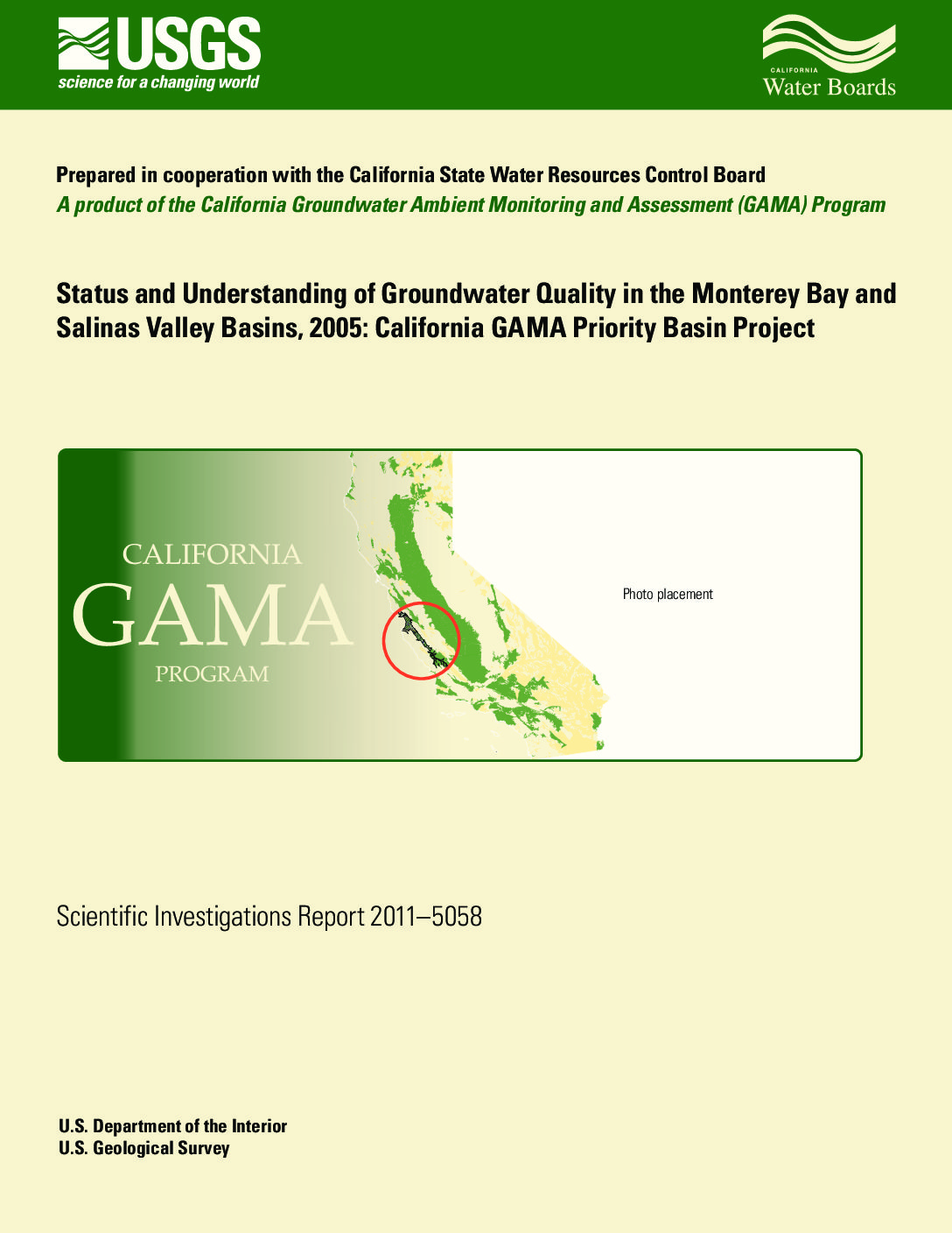 Status and Understanding of Groundwater Quality in the Monterey Bay and Salinas Valley Basins, 2005: California GAMA Priority Basin Project