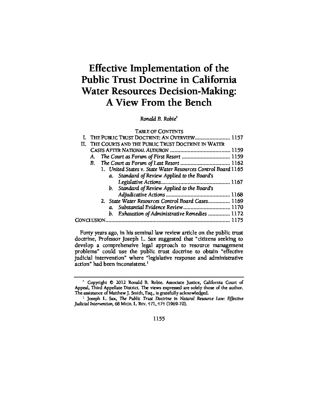 Effective Implementation of the Public Trust Doctrine in California Water Resources Decision-Making: A View From the Bench