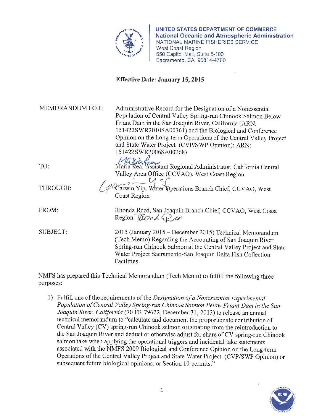 2015 Technical Memorandum Regarding the Accounting of San Joaquin River Spring-run Chinook Salmon at the Central Valley Project and State Water Project Sacramento-San Joaquin Delta Fish Collection Facilities