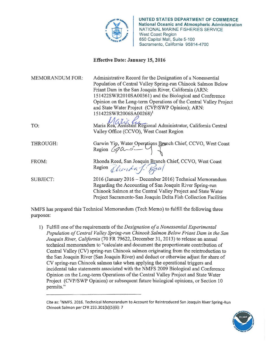 2016 Technical Memorandum Regarding the Accounting of San Joaquin River Spring-run Chinook Salmon at the Central Valley Project and State Water Project Sacramento-San Joaquin Delta Fish Collection Facilities