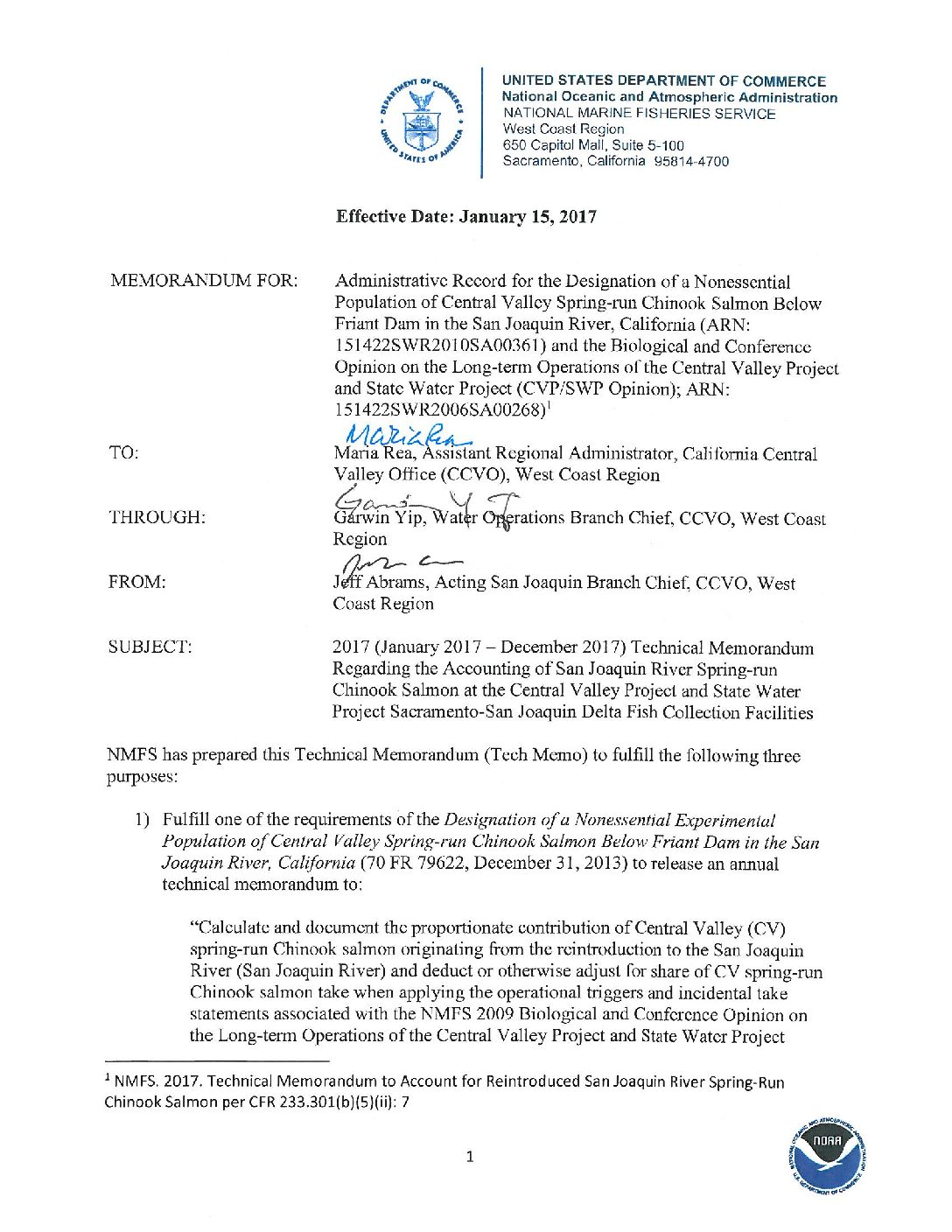 2017 Technical Memorandum Regarding the Accounting of San Joaquin River Spring-run Chinook Salmon at the Central Valley Project and State Water Project Sacramento-San Joaquin Delta Fish Collection Facilities