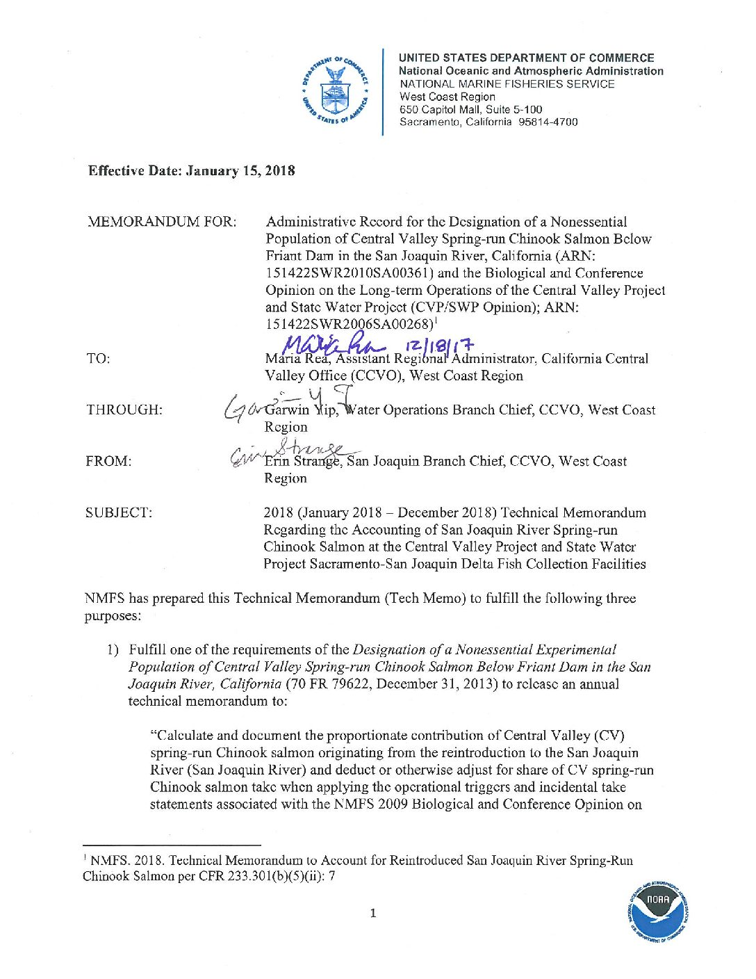 2018 Technical Memorandum Regarding the Accounting of San Joaquin River Spring-run Chinook Salmon at the Central Valley Project and State Water Project Sacramento-San Joaquin Delta Fish Collection Facilities
