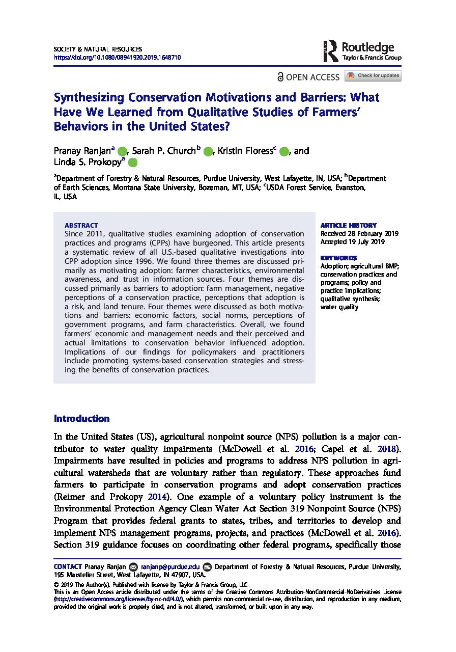 Synthesizing Conservation Motivations and Barriers: What Have We Learned from Qualitative Studies of Farmers' Behaviors in the United States?
