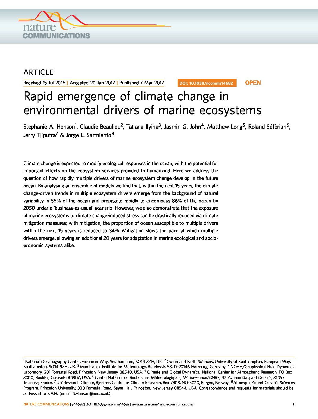 Rapid emergence of climate change in environmental drivers of marine ecosystems