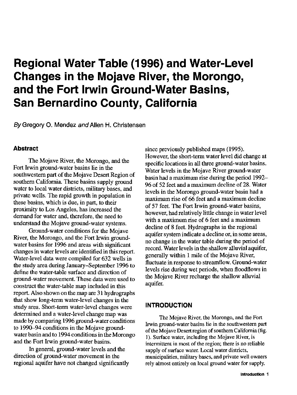 Regional water table (1996) and water-level changes in the Mojave River, Morongo, and Fort Irwin ground-water basins, San Bernardino County