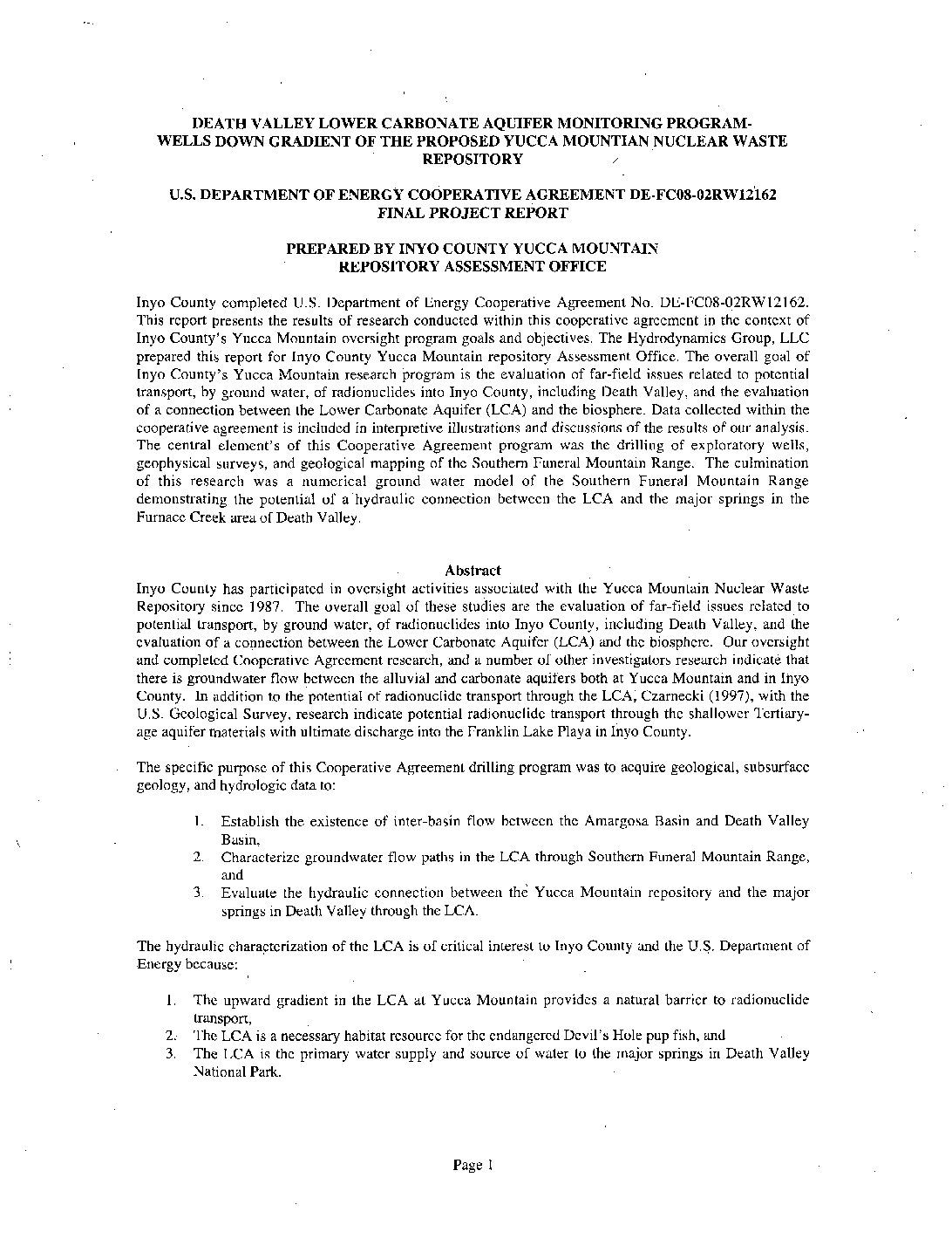 Death Valley lower carbonate aquifer monitoring program—Wells down gradient of the proposed Yucca Mountain nuclear waste repository: U.S. Department of Energy Cooperative Agreement DE-FCO8-02RW12162 Final Project Report