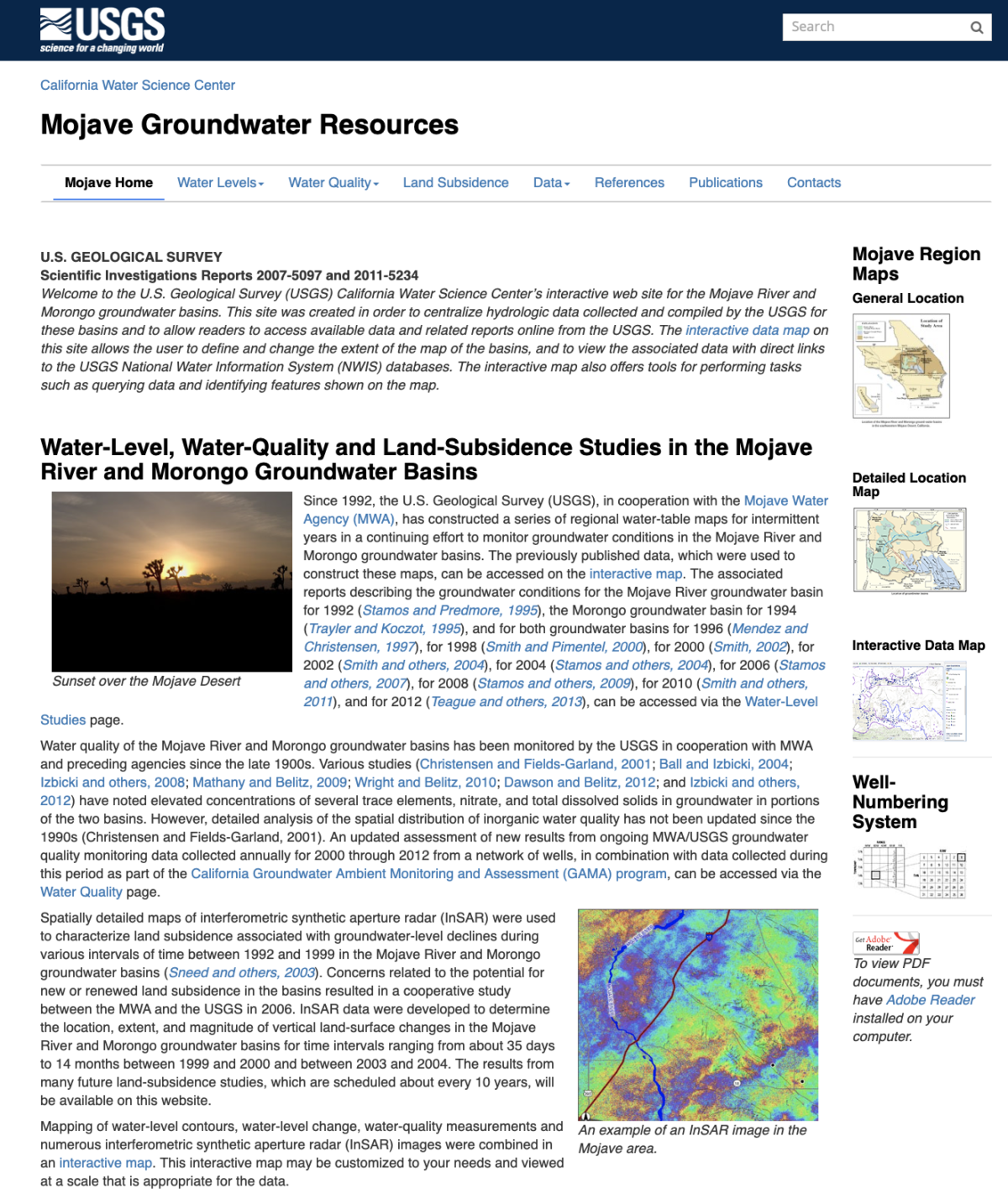 Water-Level and land-subsidence studies in the Mojave River and Morongo groundwater basins; 2007
