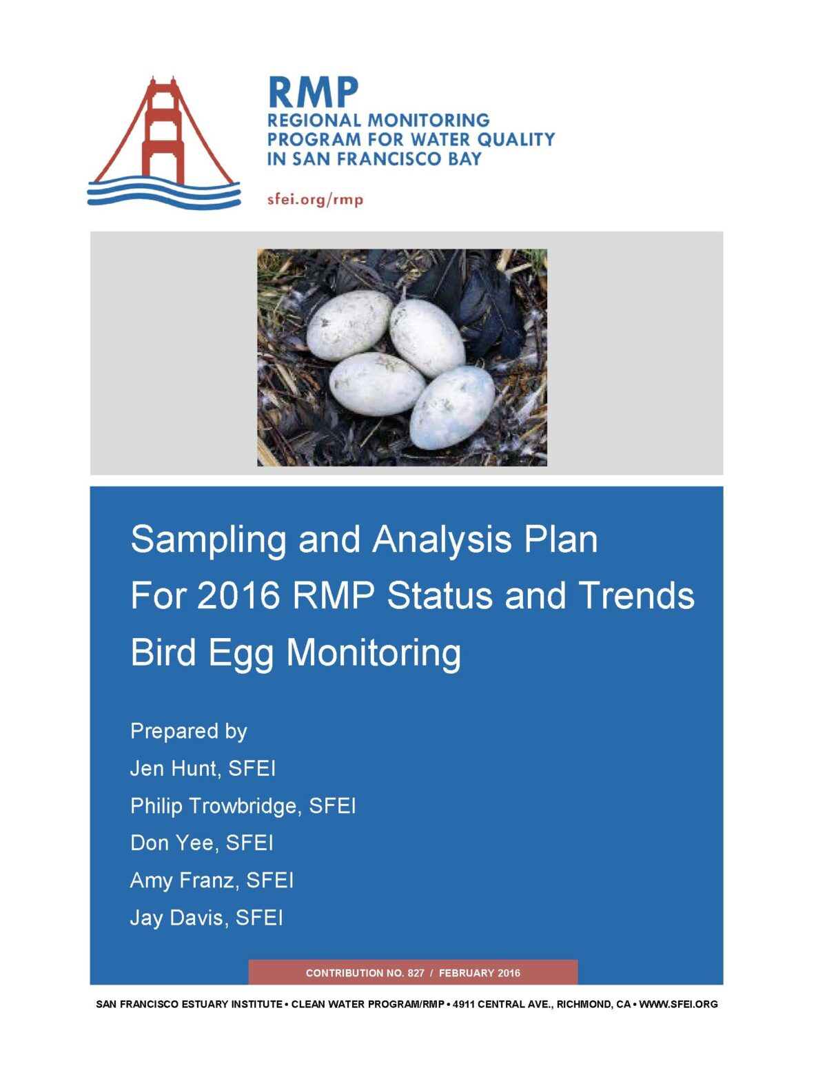 Sampling and Analysis Plan for 2016 RMP Status and Trends Bird Egg Monitoring