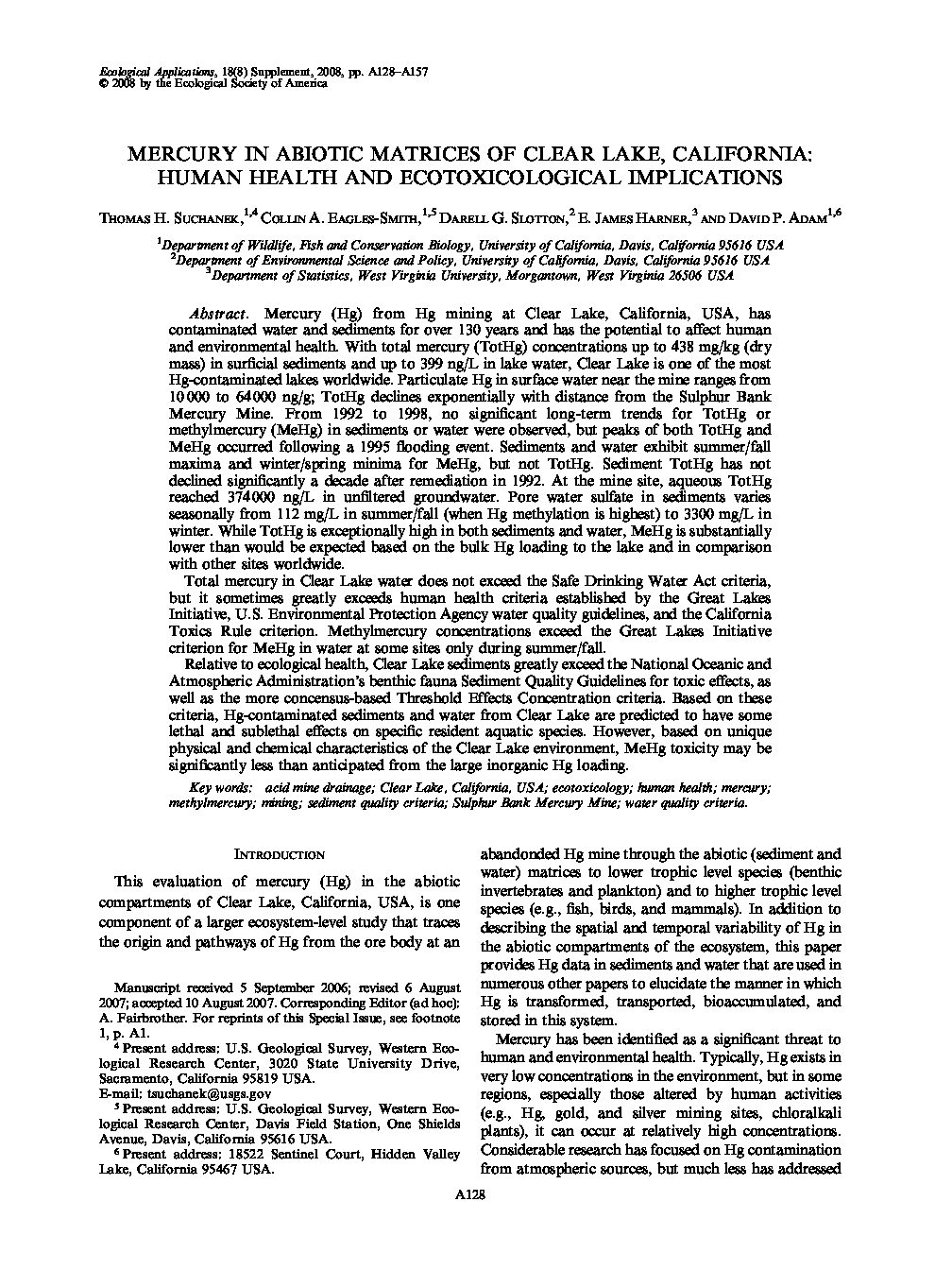 Mercury in Abiotic Matrices of Clear Lake, California: Human Health and Ecotoxicological Implications