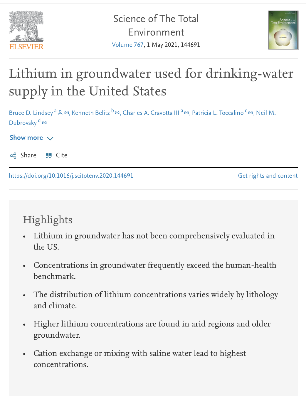Lithium in groundwater used for drinking-water supply in the United States