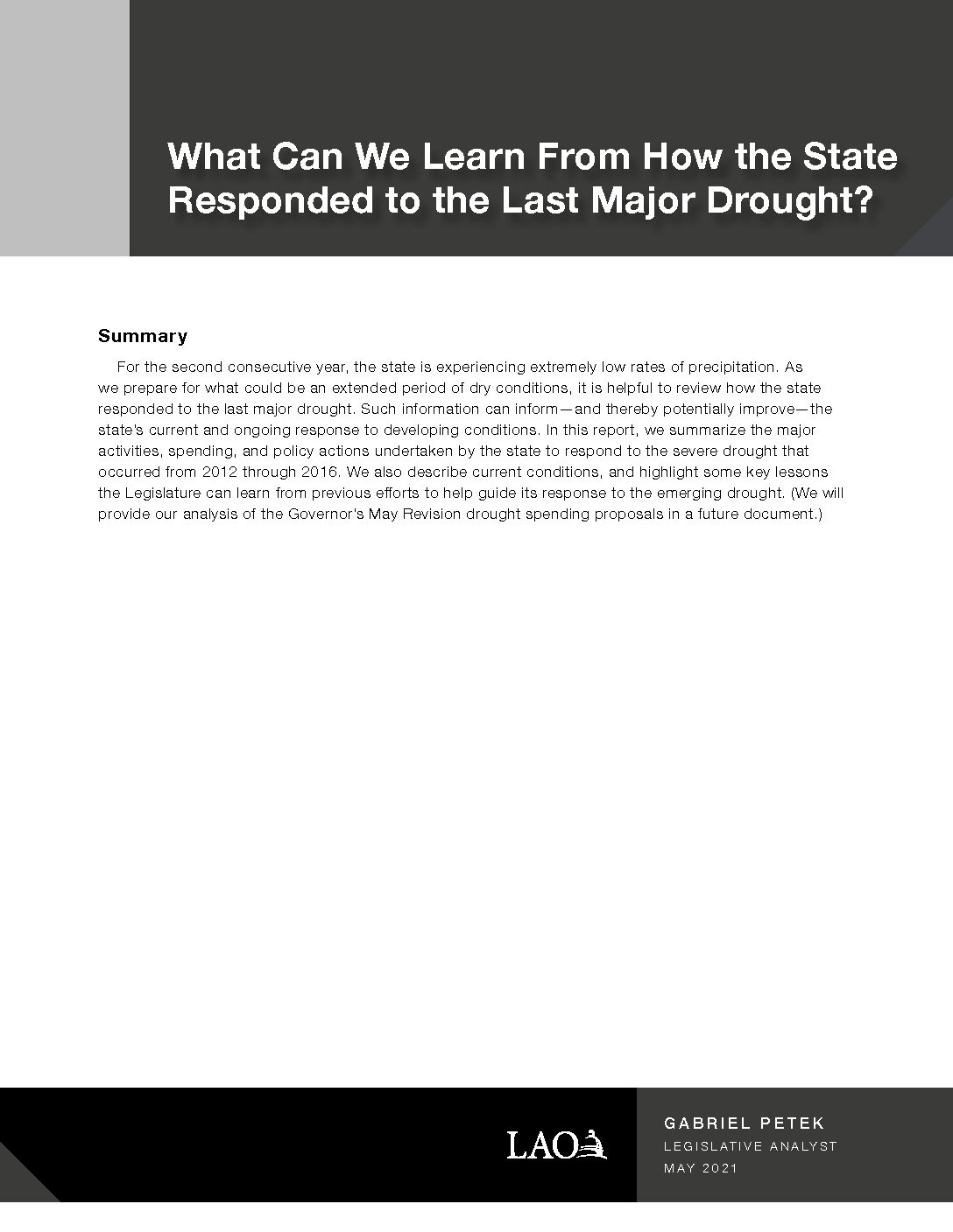 What Can We Learn From How the State Responded to the Last Major Drought?