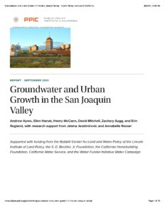 Groundwater and Urban Growth in the San Joaquin Valley